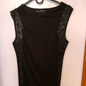 AllSaints black beaded mini dress